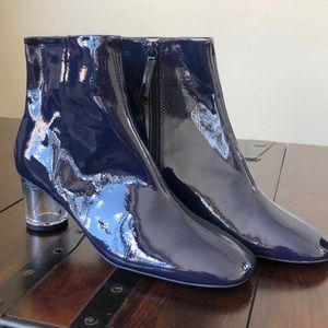 BNWT Zara Blue Patent Leather Booties